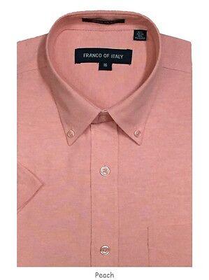 Men/'s Short Sleeve Button Down Shirts Cotton Blend Oxford #02BS Sky Blue