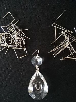 200pcs Silver m Twist Connector Hook Part for Chandelier Crystals Bead Prism DIY 5