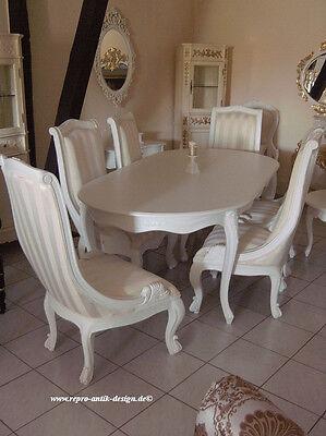 Uberlegen ... Esszimmer Garnitur Gruppe Klassisch Stuhl Sessel Tisch Weiß Barock  Massiv Speise