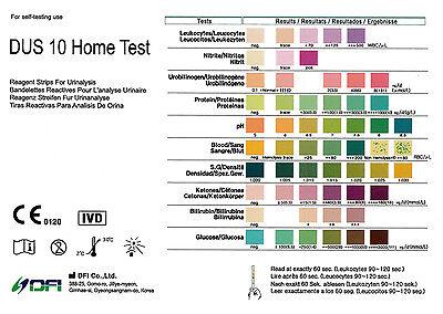 100 x GP 10 Parameter Urine Reagent Test Strips Tests Diabetes/PH/UTI & More