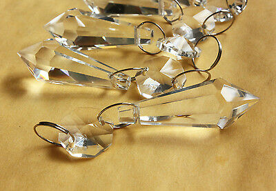 30Pcs Clear Chandelier Glass Crystals Lamp Prisms Parts Teardrop Silver Rings 2