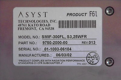 ASYST 300mm WAFER,LOAD PORT SMIF-300FL,S3,25WFR,9750-2000-00