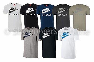 MEN'S NIKE AIR Max Crew Neck T Shirt 100% Cotton Black Blue