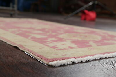 Antique Look PINK Oushak Egyptian All-Over Rug Vegetable Dye Hand-Knotted 3'x5' 9