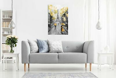Yellow Black & White Paris Painting Canvas Wall Art Picture Print 3