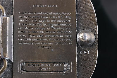Indiana Metal Craft © 1977 Brass Grizzly Bear Belt Buckle 4710 3