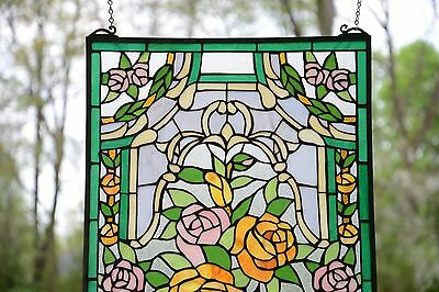 "Rose Flower Tiffany Style stained glass window panel,  20"" x 34"" 2"