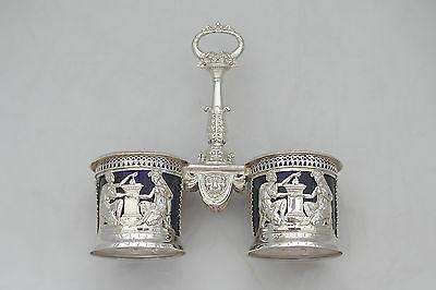 Rare French Silver Double Table Salt Paris 1793 4