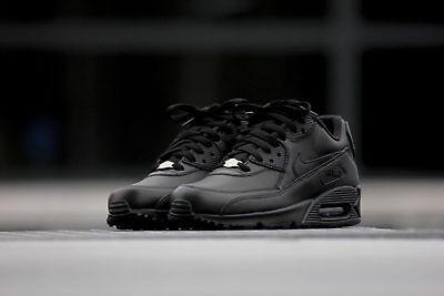 Nike Air Max 90 Leather All Black New Men Roshe Huarache Presto Retro 302519-001 2