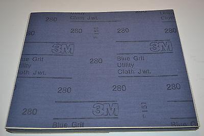 "50 NEW 3M 280x BLUE GRIT CLOTH Sandpaper 9""X11"" Sheet Machinist (WR.12b.A5-6) 2"