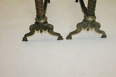Charming Pair of Regency Style Copper & Brass Andirons, Fireplace, 19th Century