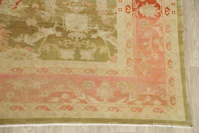 Antique Look Oushak Egyptian Oriental Area Rug Green/Rust Wool Hand-Made 11x14 6