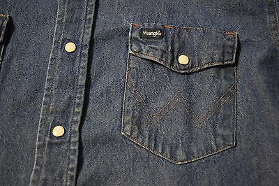 665da2b100 ... Vintage Wrangler Pearl Snap Denim Shirt Western Cut Men s Large Blue  Jean 5