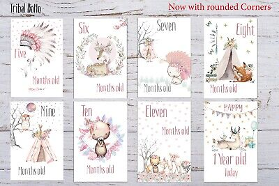 Baby Milestone Cards Boho Tribal Girls Pink Pack of 35 Full Set Or Age Only 17 3