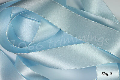 Double Satin Ribbon Berisfords Blue Shades 8 Widths Short Lengths or Full Reels 8