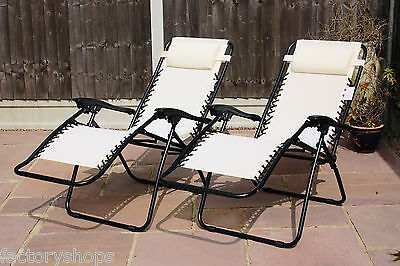 Set Of 2 Reclining Sun Loungers Gravity Folding Garden Chairs Or Spare Parts 7