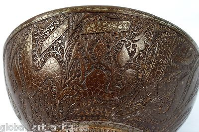 Rare Vintage Old Unique Collective Islamic calligraphy Brass Water Bowl.G3-42 US 6