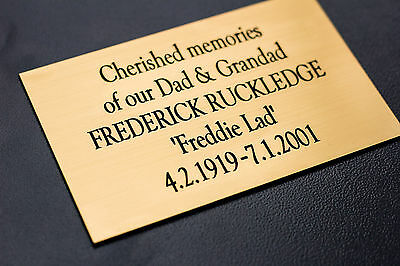 Engraved Memorial Plaque, Bench Plate, in Silver or Brass Effect High Quality 3