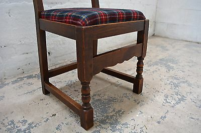 6 Antique rustic farmhouse high back upholstered dining chairs in tartan wool 4