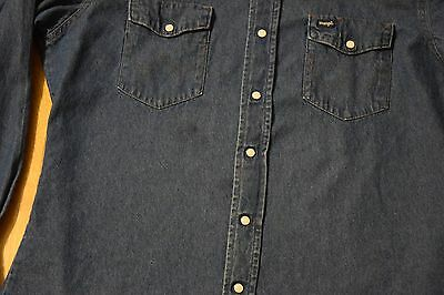 b9cf83dfce ... Vintage Wrangler Pearl Snap Denim Shirt Western Cut Men s Large Blue  Jean 3