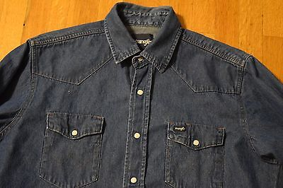 a4786ddd58 ... Vintage Wrangler Pearl Snap Denim Shirt Western Cut Men s Large Blue  Jean 2
