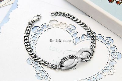 Silver Tone Stainless Steel Infinity Braided Chain Bangle Bracelet Women's Gift 4