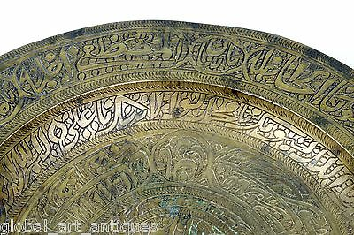 Rare Antique Old Hand Calligraphy Brass Islamic Mughal Religious Plate. G3-28 US 8