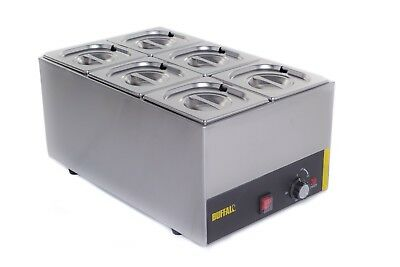 6 Pan Pot Wet Heat Bain Marie Food Warmer Holder 6X 1/6 Pans & Lids Inc 2