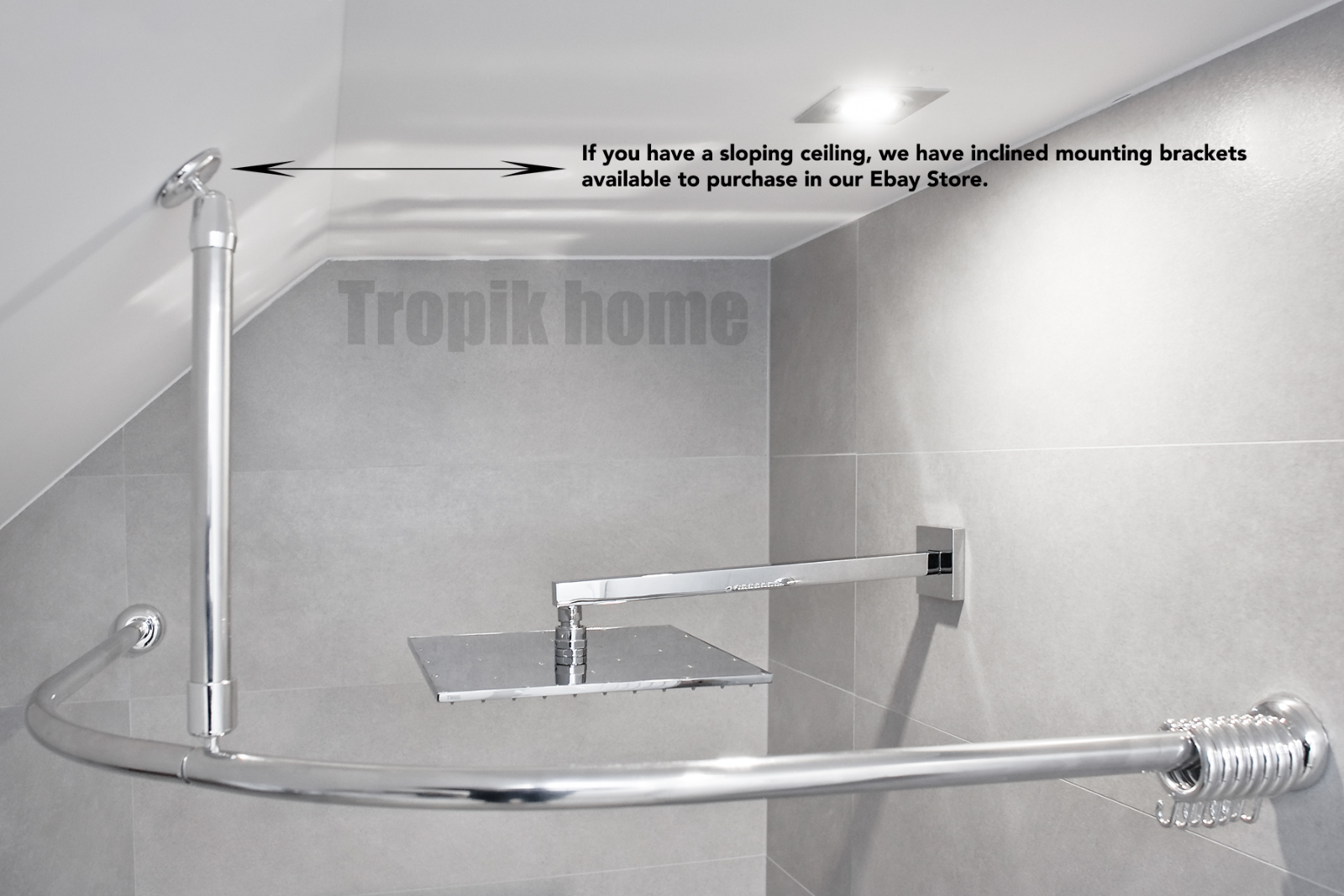 Curved Shower Curtain Rail Pole Rod With Ceiling Bracket And