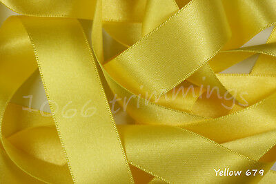 Double Sided Satin Ribbon-Berisfords-2M//4M//5 Metres-YELLOW SHADES-3//7//10//15//25mm