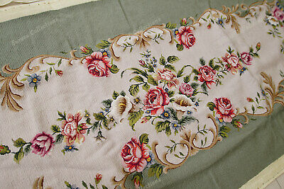 Light Olive Victorian Blooming Roses VTG Reproduction Chair Sofa Cover Sets 2