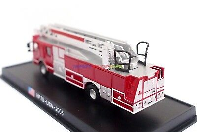 New 1:87 Diecast Fire Engine USA HP75 2005 Fire Truck Vehicle with Display Case