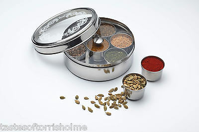 Kitchen Craft Stainless Steel Indian Herb Spice Tin Box Masala Dabba