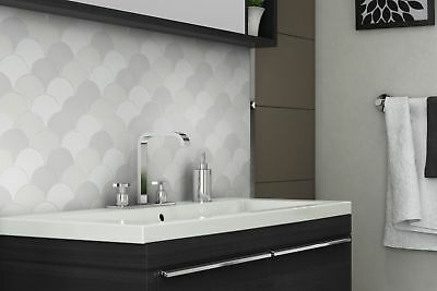 Modern Circular Grey White Porcelain Mosaic Tile Backsplash