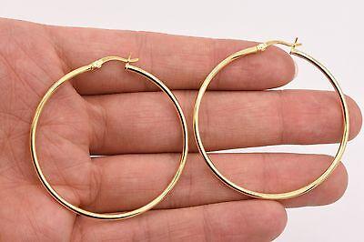 "2mm X 50mm 2/"" All Shiny Plain Hoop Earrings 14K Yellow Gold Clad Silver 925"