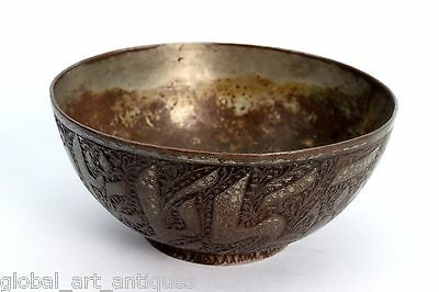 Rare Vintage Old Unique Collective Islamic calligraphy Brass Water Bowl.G3-42 US 2