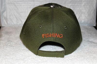 FISH NOW WORK LATER FISHING FISHERMAN BASS BASEBALL CAP HAT OLIVE GREEN /& CAMO