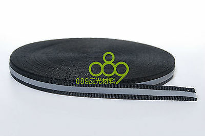 "Reflective Fabric Tape Strip Edging Braid Trim Sew On 0.4""x164 ft Black #B27E GY 2"