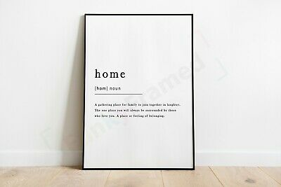 Home Definition Noun Print Framed Typography Poster Black White WordArt Picture 3