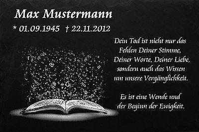 Grabstein Grabplatte Grabmal Wunsch Gravur + Doppelstütze aus Granit 30x20x1 cm 5