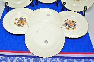 "7 J&G Meakin SOL Luncheon Plates Orange flower blue leaves scalloped gold 8"" VGC 4"