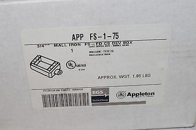 """box FSC-1-75 New box open Appleton 3//4/"""" mall iron FS-FD CS dev"""