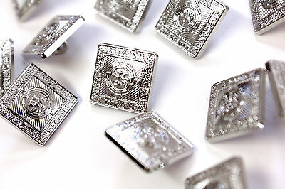 50P Each 12  Spare Large 18mm Buttons Prince Charlie Argyll Jackets Chrome 2 • EUR 6,57