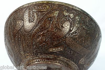 Rare Vintage Old Unique Collectible Islamic calligraphy Brass Water Bowl.G3-42 7