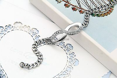 Silver Tone Stainless Steel Infinity Braided Chain Bangle Bracelet Women's Gift 6