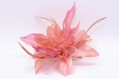 Pink fascinator comb in dusky dark chiffon flower with feather tendrils 3