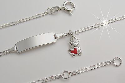 Bär Baby Kinderarmkette Armband Wunsch Gravur Name Geburt Echt silber 925 Taufe