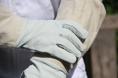 Beekeepers Bee Gloves - Soft White Goats Leather with Cotton Gauntlets All Sizes 2