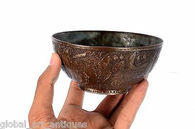 Rare Vintage Old Unique Collectible Islamic calligraphy Brass Water Bowl.G3-42 10