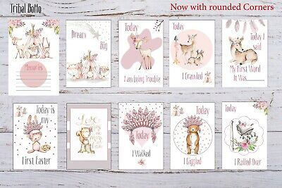 Baby Milestone Cards Boho Tribal Girls Pink Pack of 35 Full Set Or Age Only 17 4